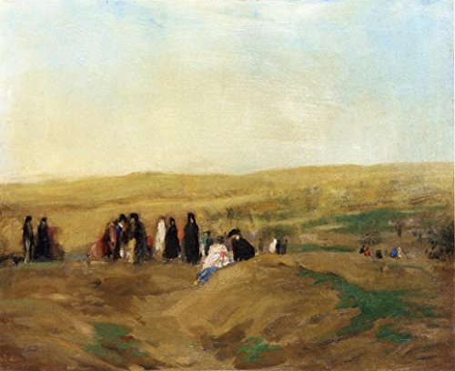 Cutler Miles Procession In Spain by Robert Henri Hand Painted Oil on Canvas Reproduction Wall Art. 30x24 by Cutler Miles
