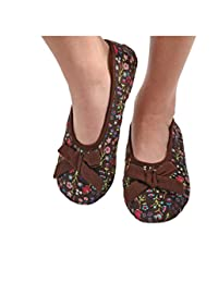 Snoozies Womens Corduroy Floral Ballet Non-Skid Slipper Socks