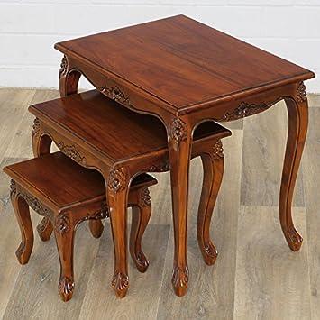 MOREKO 3 Er Tischset Mahagoni Holz Tisch Antik Stil Beistelltisch
