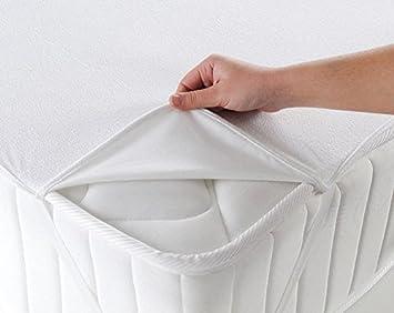 Ertex – Protector de colchón, resistente al agua, antiácaros, antibacteriano, 100% algodón , 100 % algodón, 100 x 200 cm: Amazon.es: Hogar