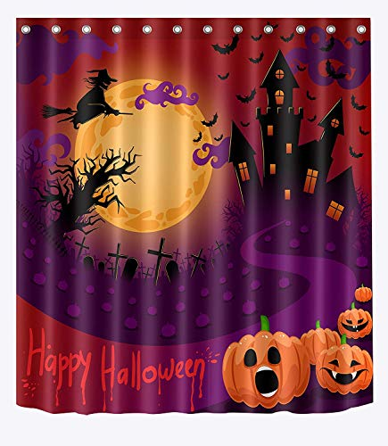summer-M Witch Fly Over Moon Night Grave Haunted Castle Shower Curtain Set for Bathroom, Spooky Halloween Curtain for Kids, 60x72inches Polyester Fabric Shower Curtain Waterproof Mildew -