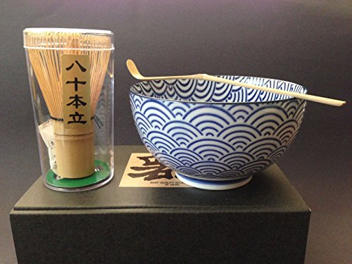 Japanese Blue Wave Matcha Bowl Cup Whisk Tea Ceremony Gift Set by Yokohama Gifts