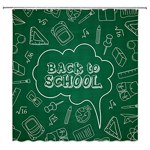 Child Back to School Shower Curtain Chalk Word Decor Teal Blackboard Pencil Ruler Bag Glasses Mathematical Formula Pattern,Waterproof Fabric Hooks Included 70x70 Inch (Difference Between Special Education And Regular Education)