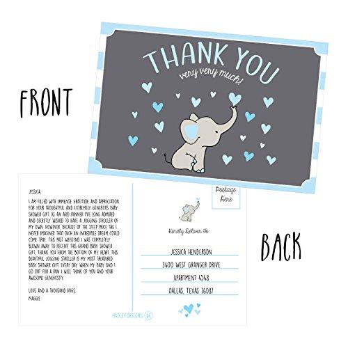 50 4x6 Elephant Boy Baby Shower Thank You Postcards Bulk, Beautiful Modern Cute Boho Blue Blank Thanks Note Card Stationery Appreciation Set Photo #4