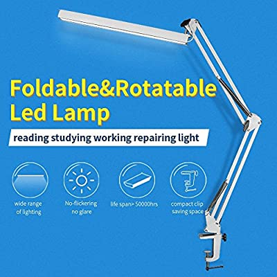 YOUKOYI A16 Long Arm High-end Metal Folding Clip-on LED Desk Lamp,Suitable for Home,Office,Bookstores,Art-Studio,Exhibition Hall,etc.(White)