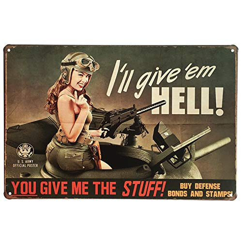 UNIQUELOVER You Give Me The Stuff Pin-up Girl Retro Vintage Metal Tin Sign 12