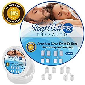 SleepWell Pro Anti Snoring Solution Nose Vents Set with Travel Case (4-Pair)