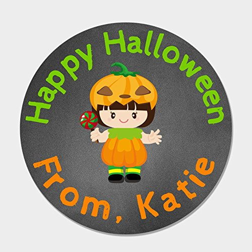 40 Personalized Pumpkin Halloween Treat Stickers - Kids Halloween Treat Bag Stickers - Customized Halloween Labels