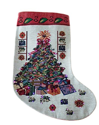 red and white light up christmas stocking by clever creations colorful decorated christmas tree and