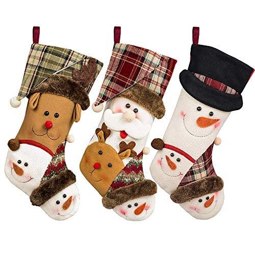 CUKENG Christmas Stockings 3 Pack, 17'' Xmas Stockings,