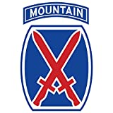 US Army - 10th Mountain Division Patch Decal - 3.5 Inch Tall Full Color Decal, Sticker
