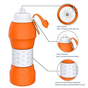 Collapsible Water Bottle,GITKARL,Travel Accessories,Lightweight Silicone Travel Mug,[BPA Free] [FDA Approved] - Orange