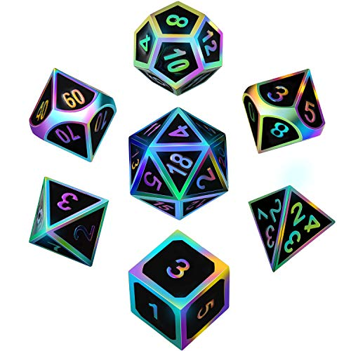 7 Pieces Metal Dices Set DND Game Polyhedral Solid Metal D&D Dice Set with Storage Bag and Zinc Alloy with Enamel for Role Playing Game Dungeons and Dragons, Math Teaching (Rainbow Edge Black 2)