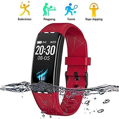 HuaYangNanHai Fitness Tracker 0 96 inch screen smart band IP68 waterproof smart wristband bracelet Fitness tracker smartband For Android and IOS Red Estimated Price -