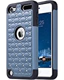 ULAK iPod Touch Case, iPod 5 & 6th Gen Case, Hybrid Soft Silicone and Bling Hard PC Anti Slip Anti-Scratch Shockproof Protective Cover Case for Apple iPod Touch 5 / 6th Generation, Blue + Black
