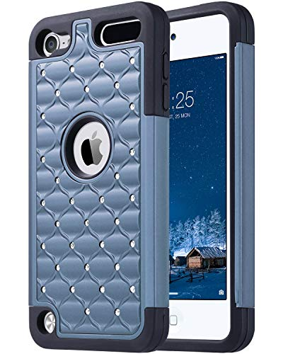 ULAK iPod Touch 7th Generation Case, iPod Touch 5 & 6th Generation, Bling Glitter Dual Layer Soft Silicone Rubber & Hard PC Shockproof Cover for Apple iPod Touch 5 6th 7th Gen, Dark Blue (Ipod Touch 4 Bling Case)