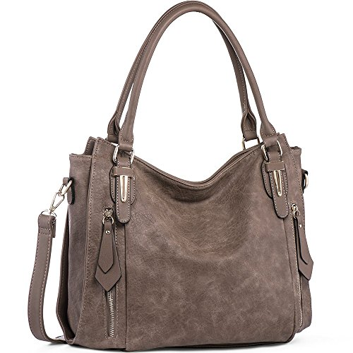 (Handbags for Women Shoulder Tote Zipper Purse PU Leather Top-handle Satchel Bags Ladies Medium Size Uncle.Y Sepia Brown)