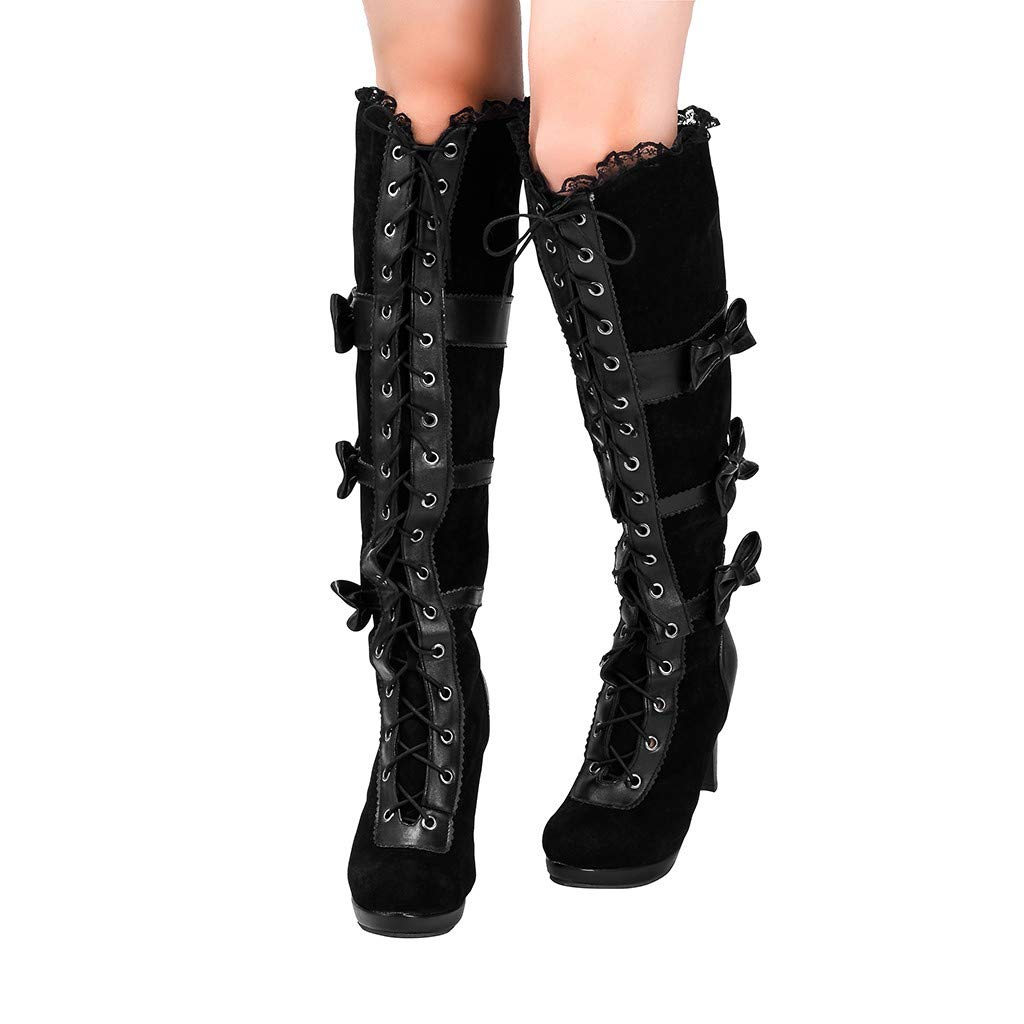 BIKETAFUWY Halloween Cosplay High Boots,Womens Pointed Toe Bowknot Lace-Up Strappy Stiletto Heel Pumps Knee High Boots