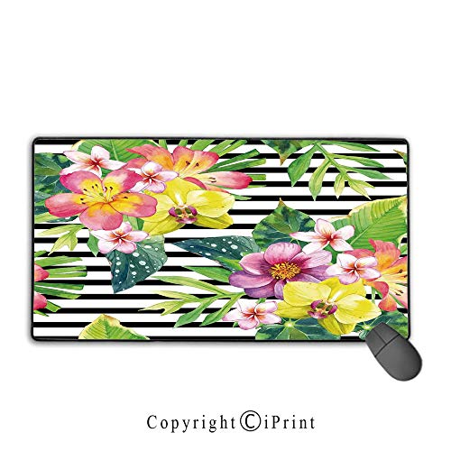Extended Gaming Mouse pad with Stitched Edges,Floral,Bouquet with Lily Dahlia Palm Begonia Leaves Orchid Flowers on a Striped Background,Multicolor, Non-Slip Rubber Base,9.8