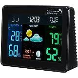 RISHIL WORLD DC 4.5V Wireless Weather Station Clock Digital Temperature Humidity Meter Indoor/Outdoor WWVB