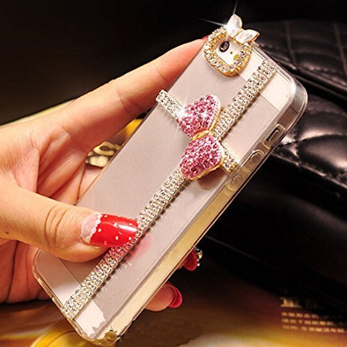 iPhone 6 Plus Case,iphone 6s Plus Case Hundromi(TM)Iphone 6 Plus [5.5] 3d Handmade Clear Bling Bow Bowknot Crystal Rhinestone Diamond Skin Case Cover for iphone 6 Plus/6s - Cover Rhinestones