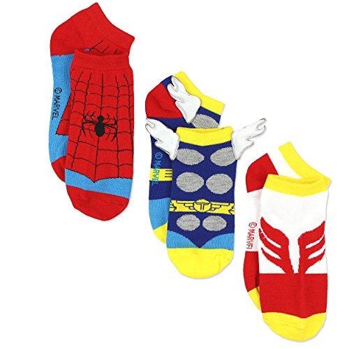 Marvel Comics Superhero Womens Novelty Costume 3 pack Low Rise Socks (9-11 / Shoe: 4-10, Red/Blue) for $<!--$9.97-->