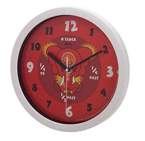 Unity Pink Chilies Da Hong Elephant Silent Sweep Learn The Time Wall Clock, 10-Inch, Red