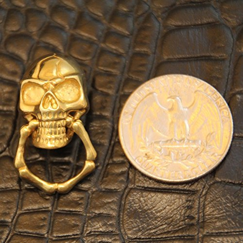 WellieSTR Lof of 5PCS Solid Brass Slide-Skull-O-Ring Wallet Chain Connector Jointpart Leathercraft , Leathercraft Skull rivet stud Punk screw back Conchos Wallet 2.21.5CM ()