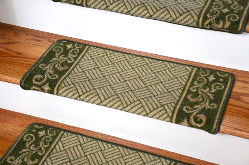 Green Ladders Bull - Dean Modern DIY Bullnose Wraparound Non-Skid Carpet Stair Treads - Green Scroll Border