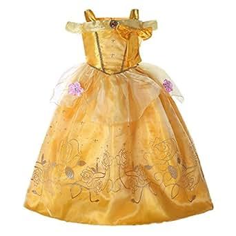 Pettigirl Niñas Princesa Dorada Belleza Traje Mágico Fantasía Vestir 3 años