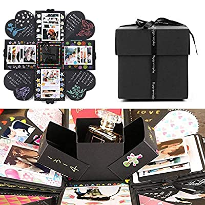 EKKONG Creative Explosion Box, DIY Handmade Photo Album Scrapbooking Gift Box for Birthday Party and Surprise Box (Black)