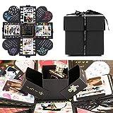 EKKONG Caja de Explosión Creativa, DIY hecho a mano álbum de fotos Scrapbooking caja de regalo para fiesta de cumpleaños y sorpresa caja (negro)