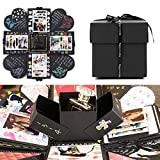 EKKONG Creative Explosion Gift Box, DIY Handmade Photo Album Scrapbooking Gift Box for Birthday Party, Valentine's Day, Mother's Day & Wedding (Black)