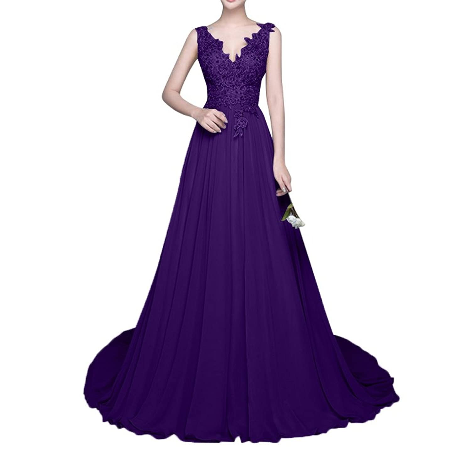 Charm Bridal Long Sexy Deep V Chiffon Women Prom Dress Bride Gowns with Train