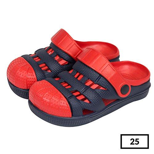 Sabot zoccoli slip on ciabatte in materiale EVA per bambini, taglia 25, colore: blu / rosso