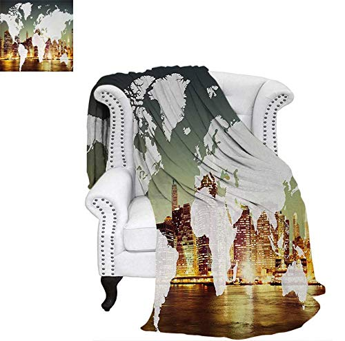 Throw Blanket World Global Cartography Globalization Earth International Concept New York City Velvet Plush Throw Blanket 60