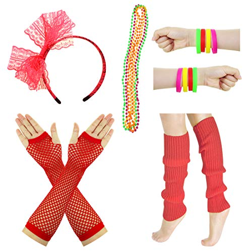JINSEY Women's 80s Outfit accessories Leg Warmers Gloves For 1980s Theme Party Supplies-Red