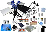 3 Color 4 Station Screen Printing Kit Full Material Kit Flash Dryer DIY Rotatry Screen Printing Press