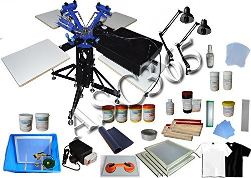 3 Color 4 Station Screen Printing Kit Full Material Kit Flash Dryer DIY Rotatry Screen Printing Press by Screen Printing Kit