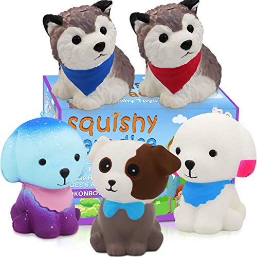 (POKONBOY Jumbo Squishy Toy Squishies Dog 5 Pack Kawaii Cream Scented Squishies Party Supplies Toys Stress Reliever Toys for Boys and Girls)