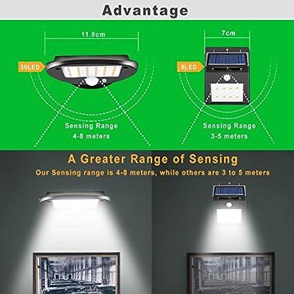 Luces solares, 30 LED, multifunción, sensor de movimiento solar al aire libre, Wilreless impermeable exterior seguridad de pared para patio, patio, jardín, ...