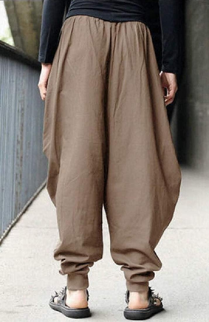 Men Baggy Cotton Harem Pants Hippie Boho Trousers with Pockets