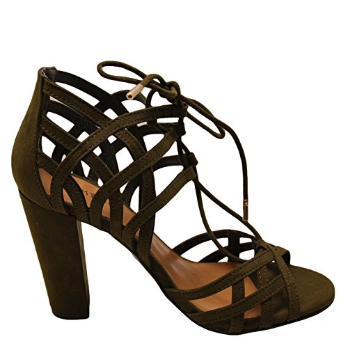 Open Lace 56M Olive Rampage Womens Heels Toe Bamboo Chunky Up zBqtwTTn