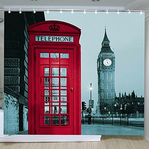 Angelwing Shower Curtain Polyester Waterproof Home Bathroom Curtains London Big Ben