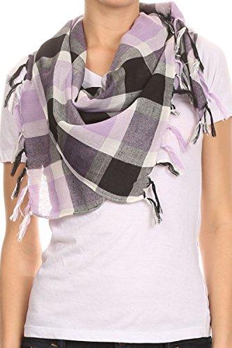 are Buffalo Plaid Square Scarf with Frills - Purple (Purple Buffalo)