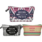 Roomy Cosmetic Bag,3 piece Set Deanfun Waterproof Travel Toiletry Pouch Makeup with Zipper (Hakuna Matata)