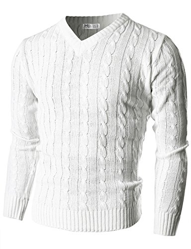 Ohoo Mens Slim Fit Cable Knit Long Sleeve V-neck Pullover Sweater/DCP025-WHITE-L