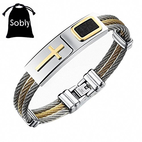 Sobly Jewelry 3-Tone Mens Stainless Steel Twisted Cable 24k Gold Plated Cross Bangle