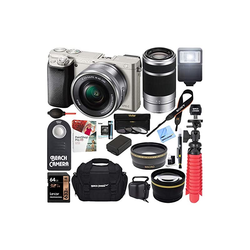 Sony Alpha a6000 24MP Mirrorless Camera 16-50mm & 55-210mm Zoom Lens (Silver) + 64GB Accessory Bundle + Deluxe Gadget Bag + Extra Battery + Wide Angle Lens + 2x Telephoto Lens + Flash + Remote +Tripod