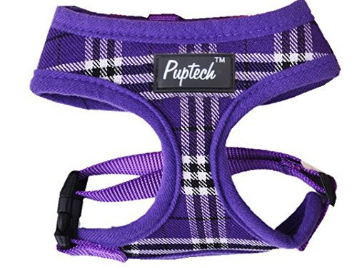 - PUPTECK Soft Mesh Dog Harness Pet Puppy Comfort Padded Vest No Pull Harnesses, Purple Medium